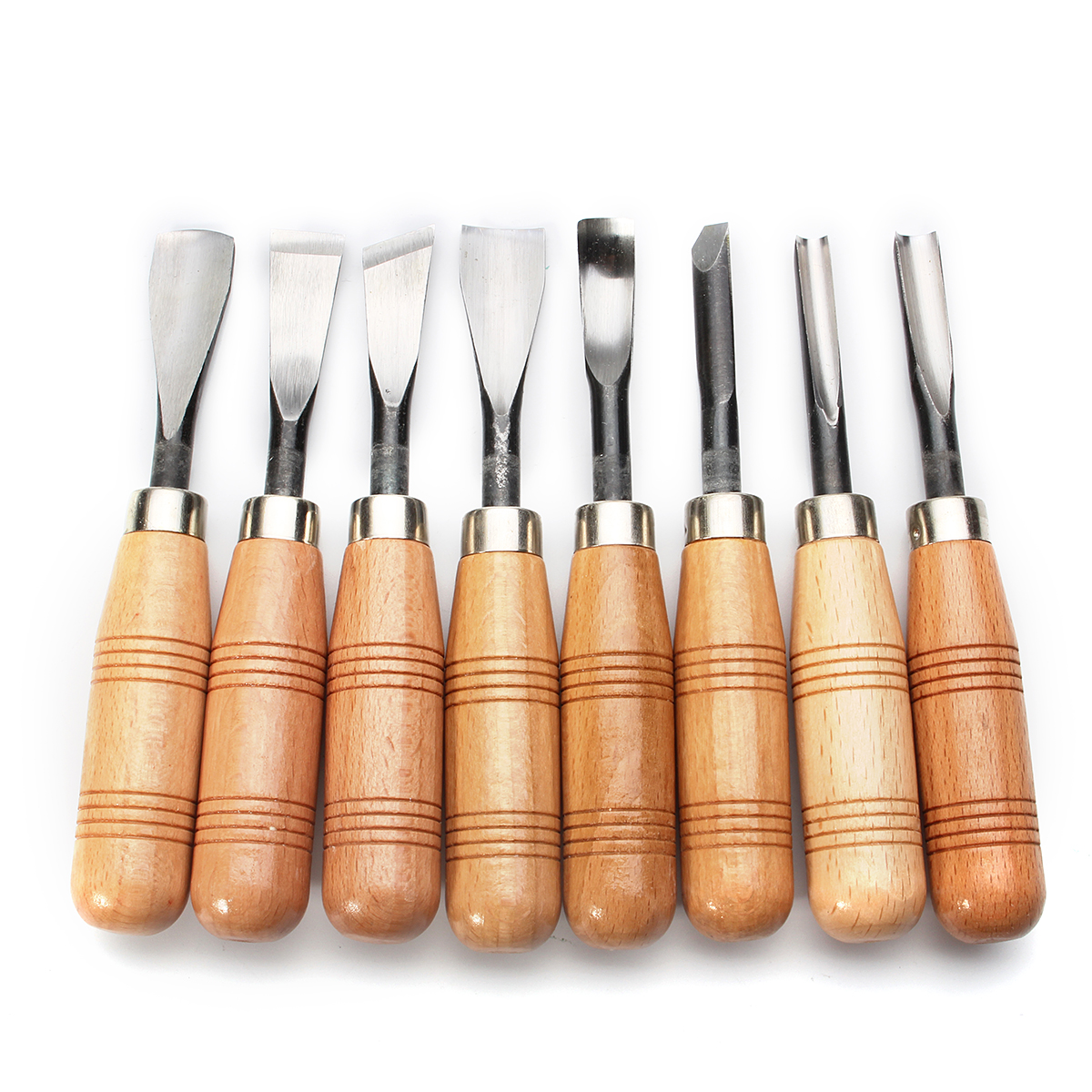 8Pcs of Professional Carving Chisels Sets Gouges Tools for Woodworking DIY with Wood Handle