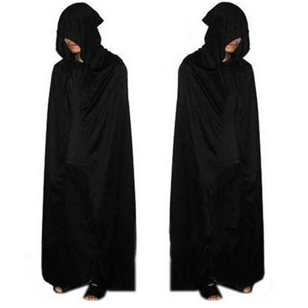 Long Black Hooded Cloak Death Big Cloak Cosplay evil Devil For Halloween Party Halloween