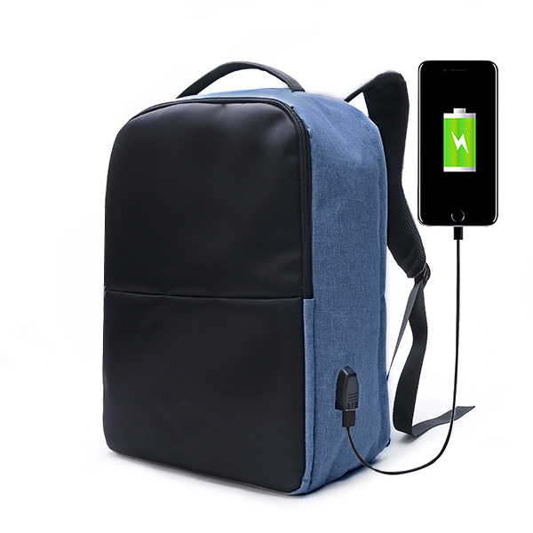 Men's Anti-theft Waterproof Backpack w/ USB Charging Port - Blue