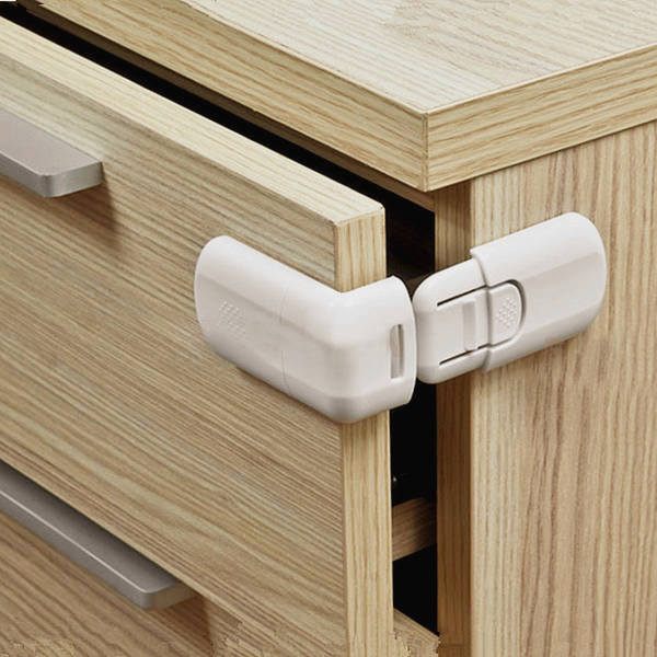 White Drawer Cabinet Door Buckle Lock Click for Home Safety Security