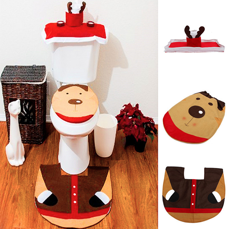 Christmas Xmas Santa Reindeer Washroom Toilet Seat Closestool Decorations Cover Rug Set