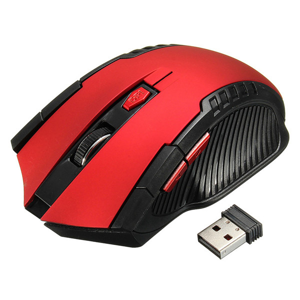 2.4GHz 6 Buttons 3000DPI USB Wireless Optical Gaming Mouse For Laptop Desktop PC Red Colour