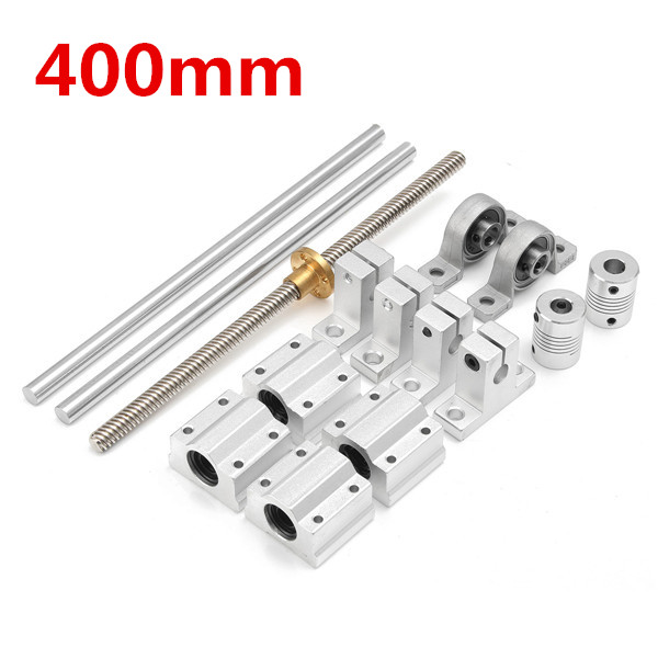 15pcs 400mm CNC Parts Optical Axis Guide Aluminum Rail Shaft Support Screws Set