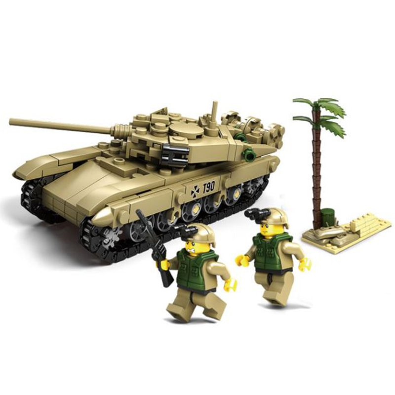T90 Battle Tank Soldiers Tree Building Block Brick Set Toy Gift Fidget 296 Pcs
