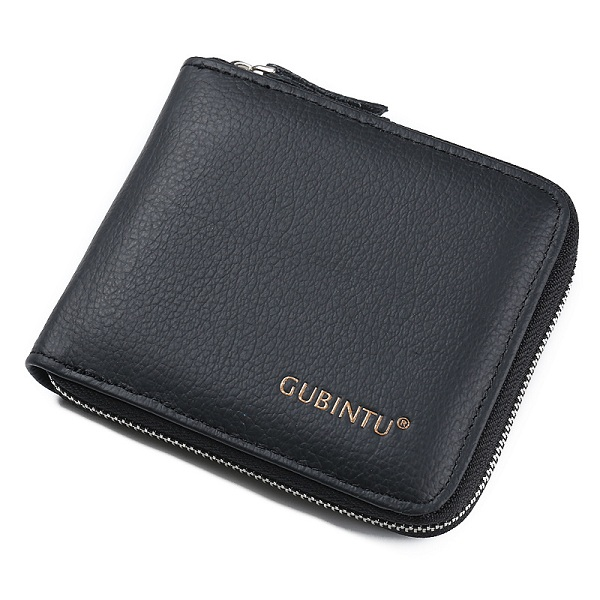 Men Genuine Leather Daily Short Wallet Card Holder Coin Purse - Black