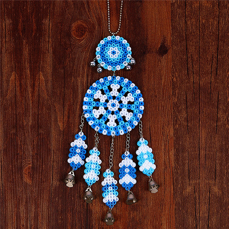 DIY Dream Catcher Windbell Kit Perler 5mm Fuse Beads Kid Craft Toy Decor Blue White Colour