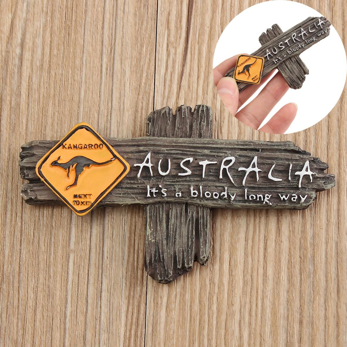 Australia Bloody Long Way Kangaroo Warning Roadsign Resin Gift Souvenir 3D Fridge Magnet