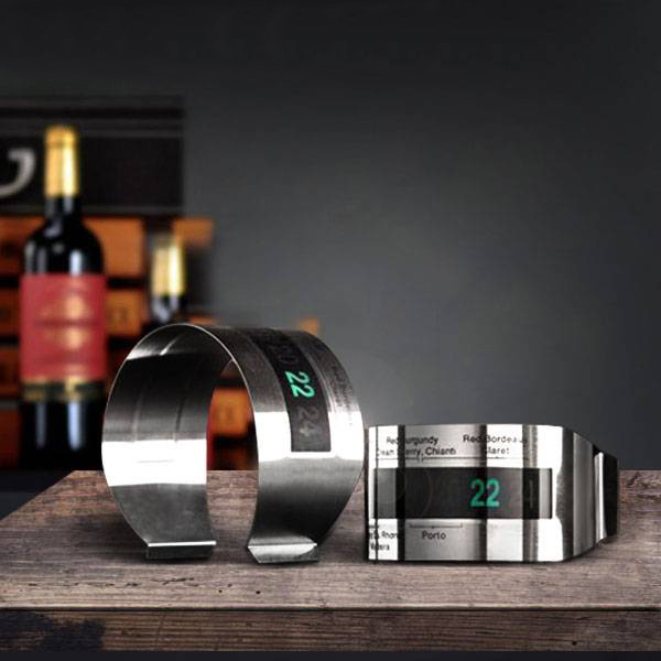 WINE Bottle Digital LCD Stainless Steel Bracelet Thermometer Reader for Kitchen Bar