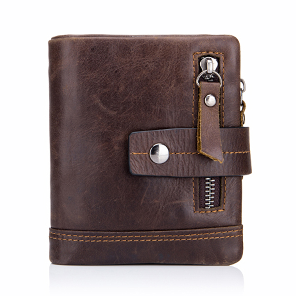 Men's Tri-fold Genuine Leather Wallet with 13 Card Slots Coffee Colour