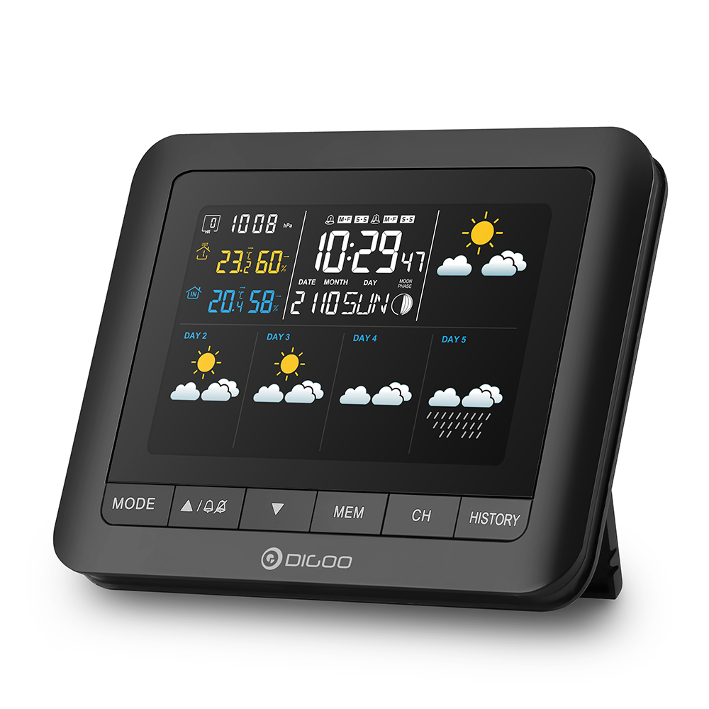 Wireless Digital Full-Colour Five Day Forecast Weather Station with USB Outdoor Barometer Hygro-thermometer Clock