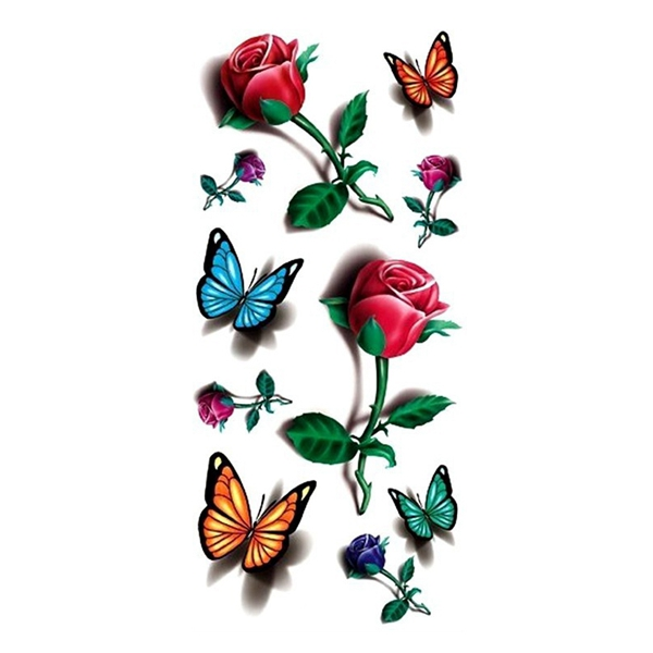 Temporary 3D Butterfly Flower Tattoo Sticker Decal Ladies Body Art