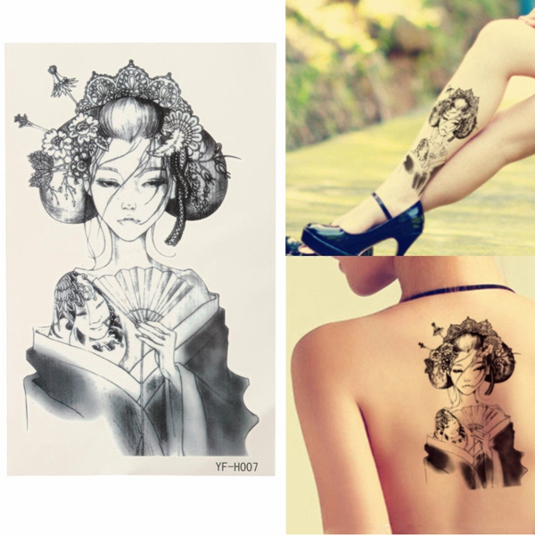 Waterproof Removable Japan Geisha Temporary Tattoo Body Art Stickers