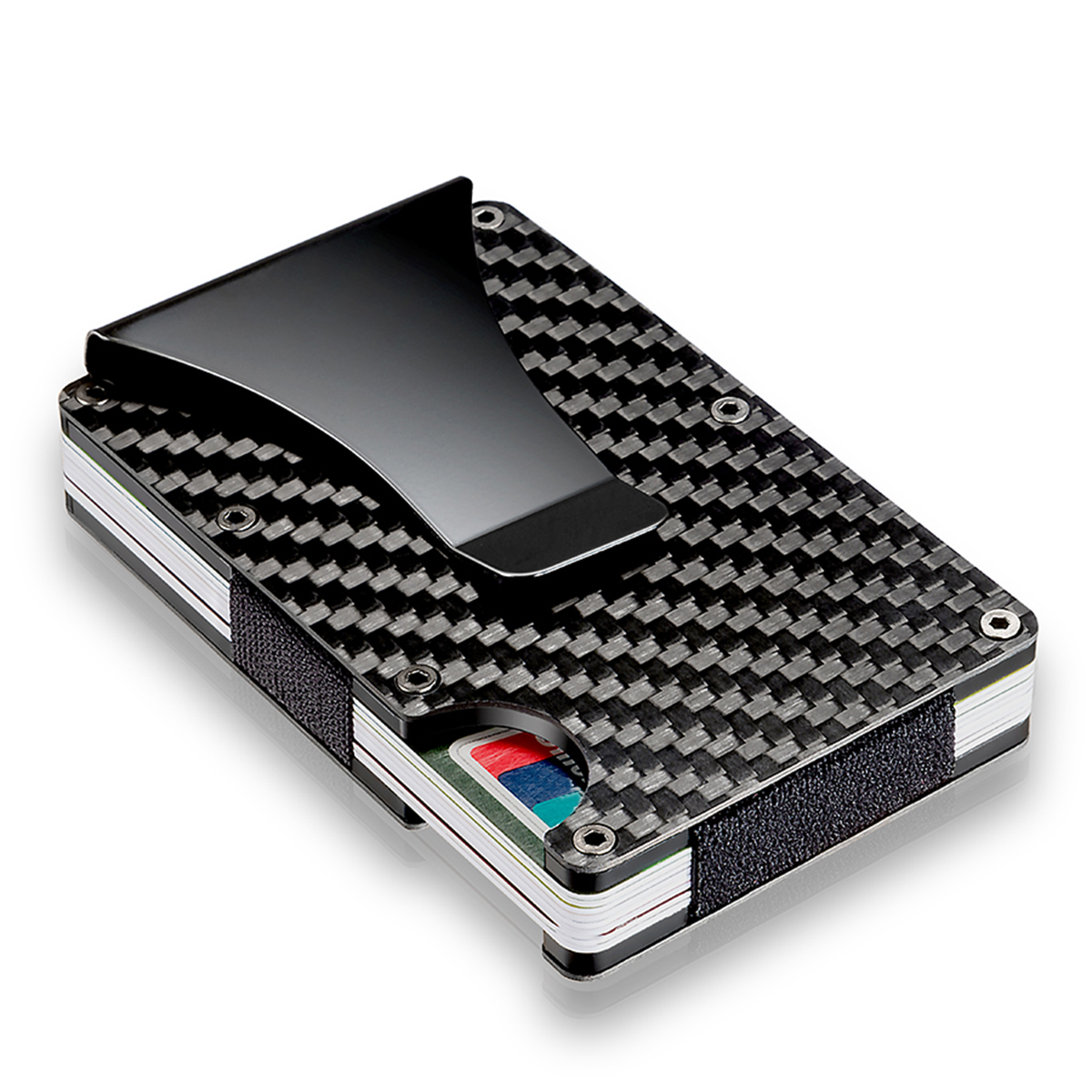 Slim Metal Carbon Fiber RFID Blocking Credit Card Holder with Clip