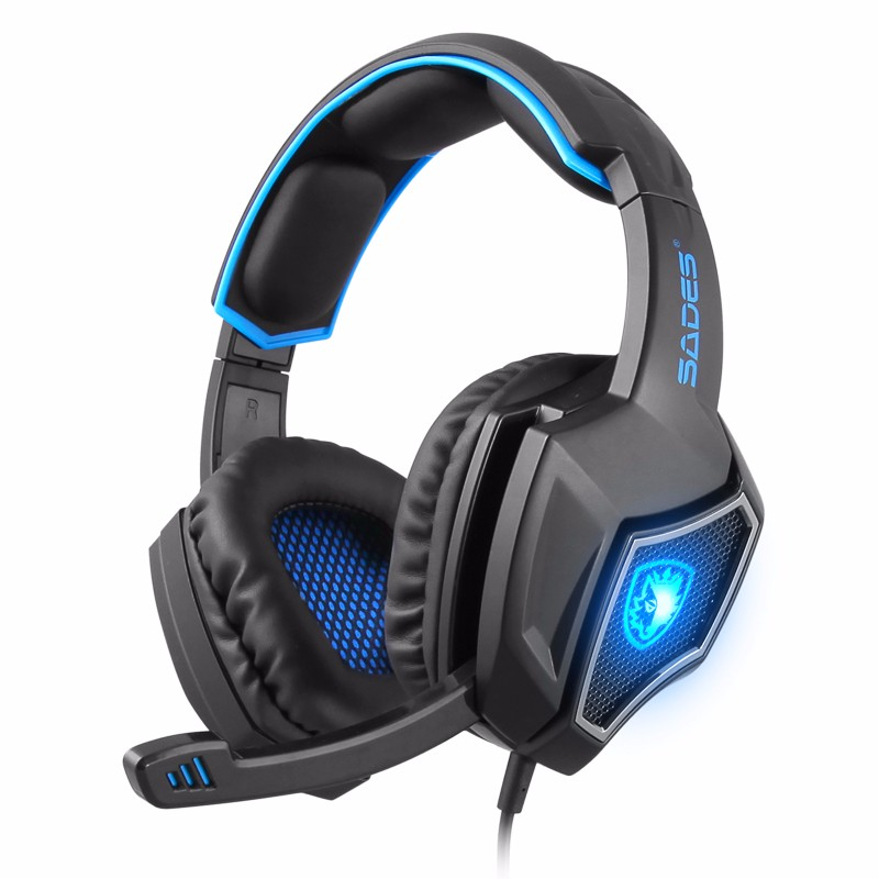 SADES 7.1 Channel Surround USB Wired LED Gaming Headset with Mic Black Red Colour