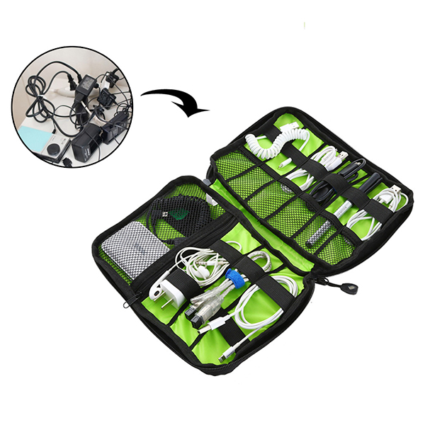 Travel Cable Storage Bag Electronic Accessories Carry Case Waterproof - Black