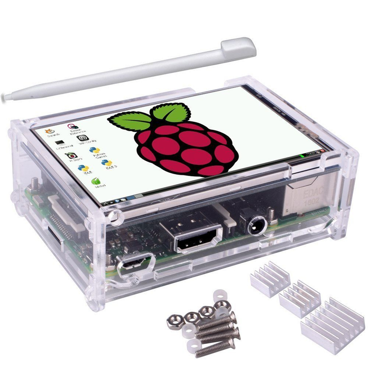 3.5 inch TFT LCD Touch Screen Heatsink Touch Pen Kit with Protective Case For Raspberry Pi 3/2/Model