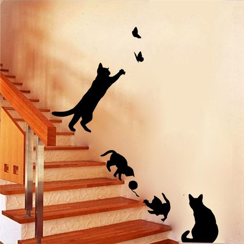 Cat playing Wall Sticker Butterflies Removable Home Decoration Decals for Bedroom Kitchen Living Room