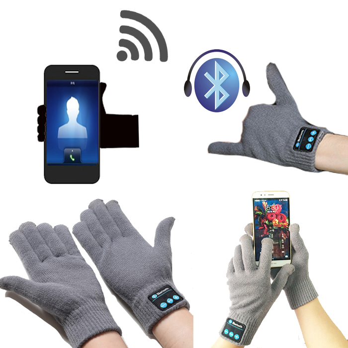Smart Gloves Touch Screen Bluetooth Wireless Hands Free MP3 Player Winter Ski - Gray