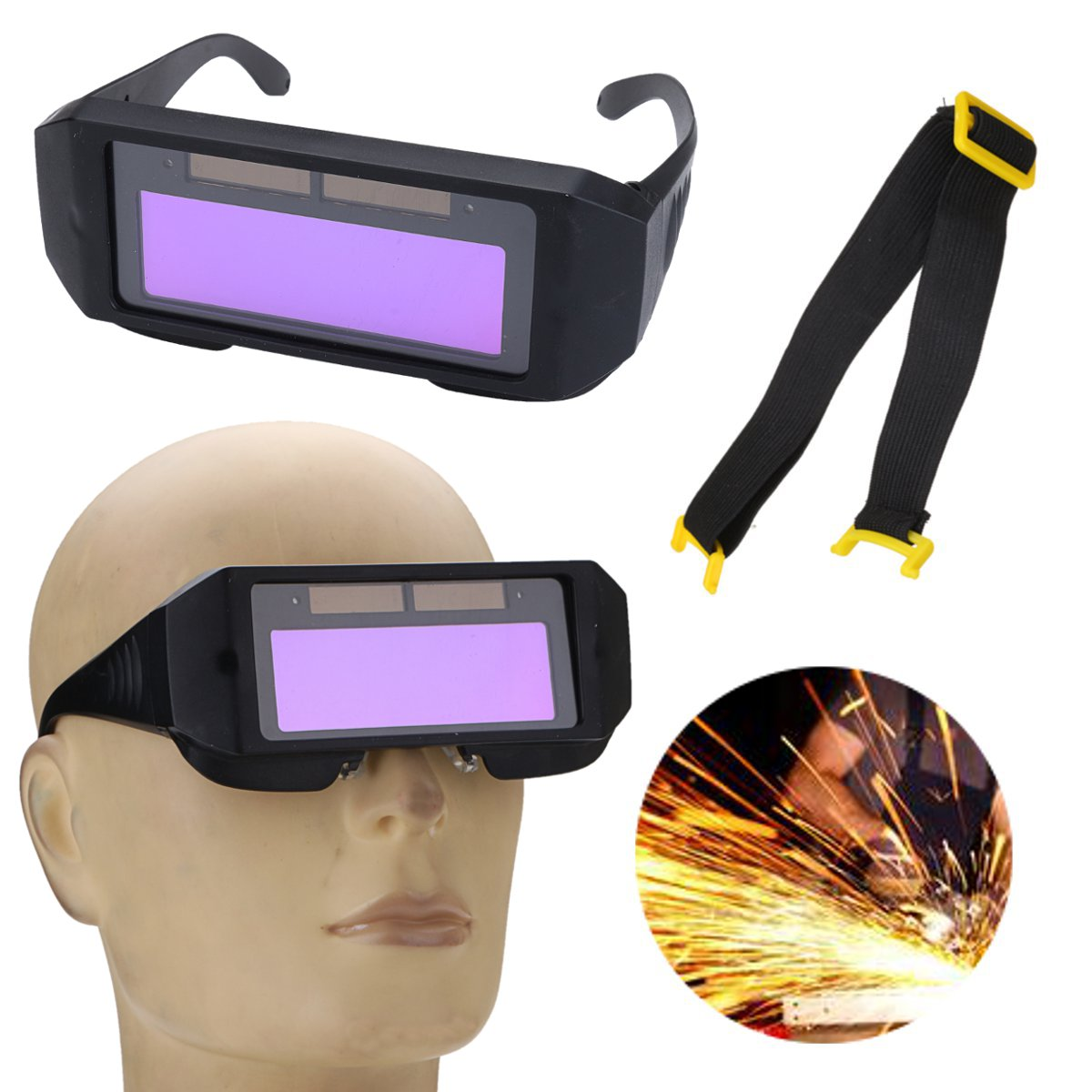 Solar Powered Auto Darkening Welding Helmet Goggle Mask Two-way Eye Glasses Adjustable Black
