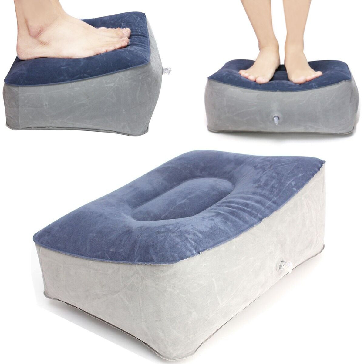 Inflatable Footrest Pillow Relax Reduce DVT Risk for Home Travel Flight Air Cushion