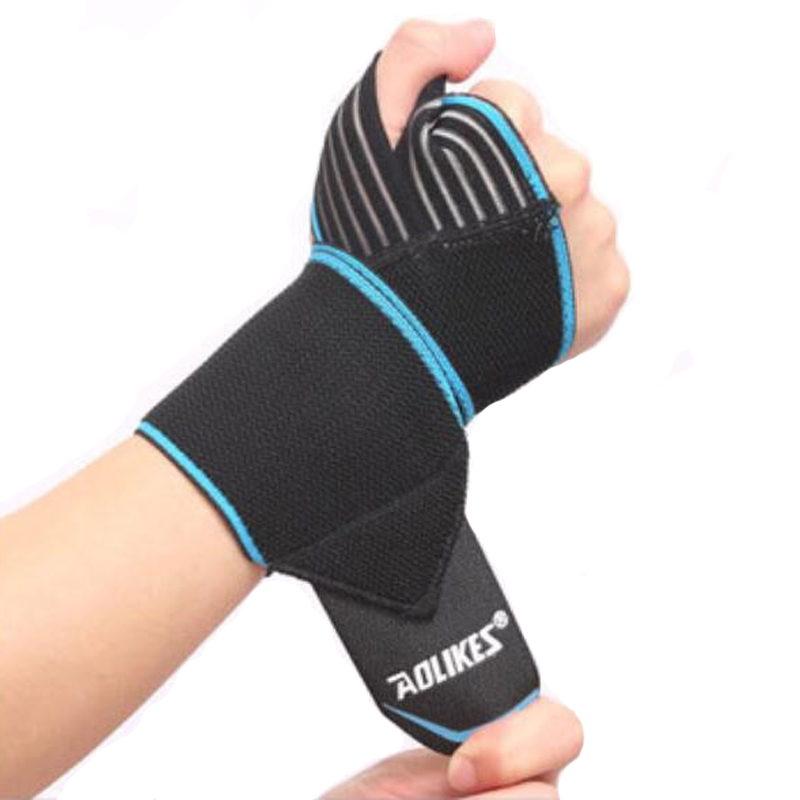 Weight Lifting Fitness Wristband Hand Bandage Adjustable Elastic Wrist Injury Support Sport-Blue
