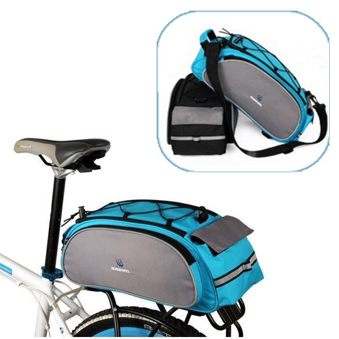 2-way Bike Bicycle Rear Seat Tail Bag Pannier Double Sides adjustable strap - Blue