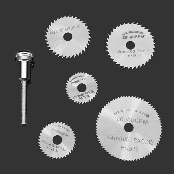 6Pcs Set of HSS Titanium Coated Circular Saw Blades for Dremel Rotary Tool SW-B1 - Silver