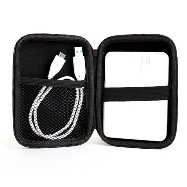 Portable Zipper lanyard 2.5 Inch Hard Disk Drive Holder Case Bag Caddy Pouch Protection Black