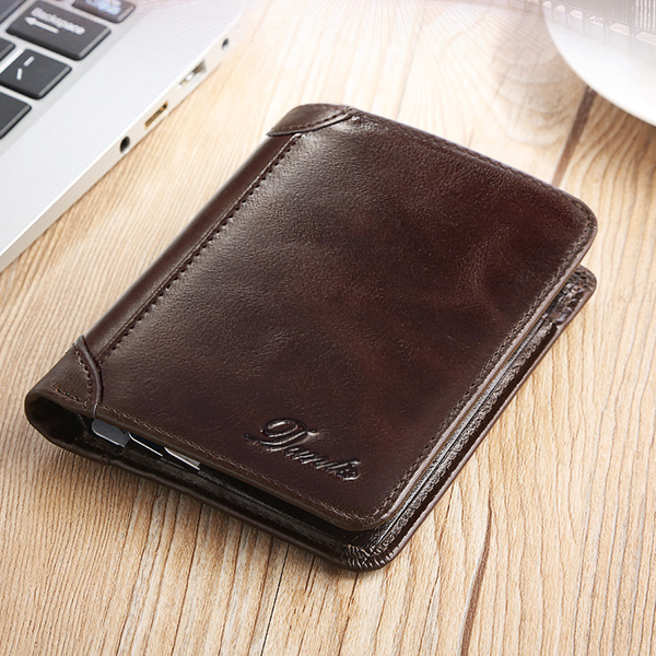 Men Genuine Leather Vintage Short Wallet Slim Money Card Holder with 11 Card Slots-Coffee