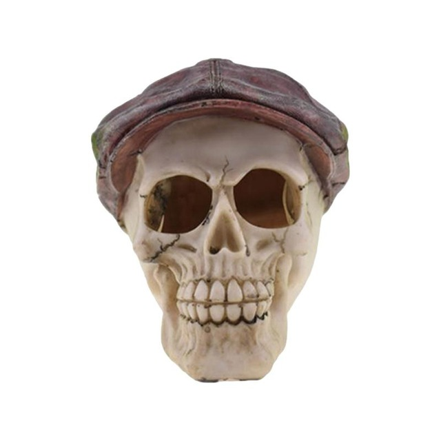 Halloween Skull Decor Horror Toy Human Prop Resin Skull Head Ornament Party Decorations #02