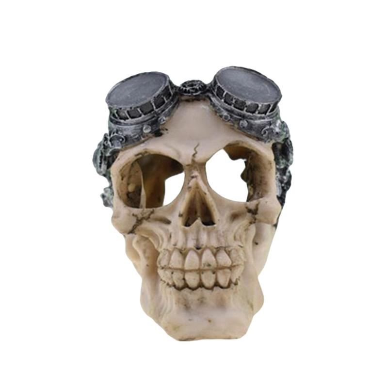 Halloween Skull Decor Horror Toy Human Prop Resin Skull Head Ornament Party Decorations #03