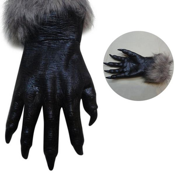 Halloween Realistic Werewolf Wolf Paws Claws Cosplay Latex Gloves Creepy Horror Devil Costume Party