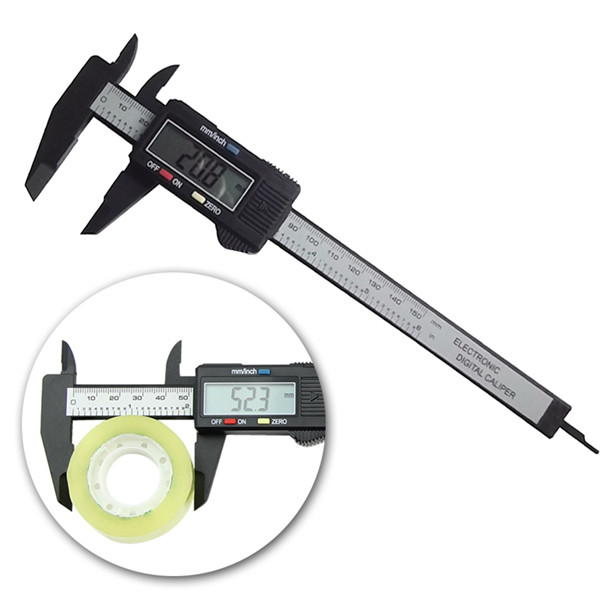 "6"" 150mm Electronic Digital LCD Gauge Caliper Ruler Vernier Carbon Fiber Composite"
