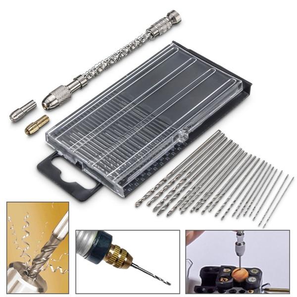 Mini Hand Drill Set with Chuck and 0.3-1.6mm Straight Shank Twist Drill Bits Kit