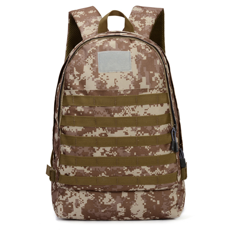 Outdoor Sports Shoulder Zipper Backpack Camouflage Military Camp Storage Punch - Desert