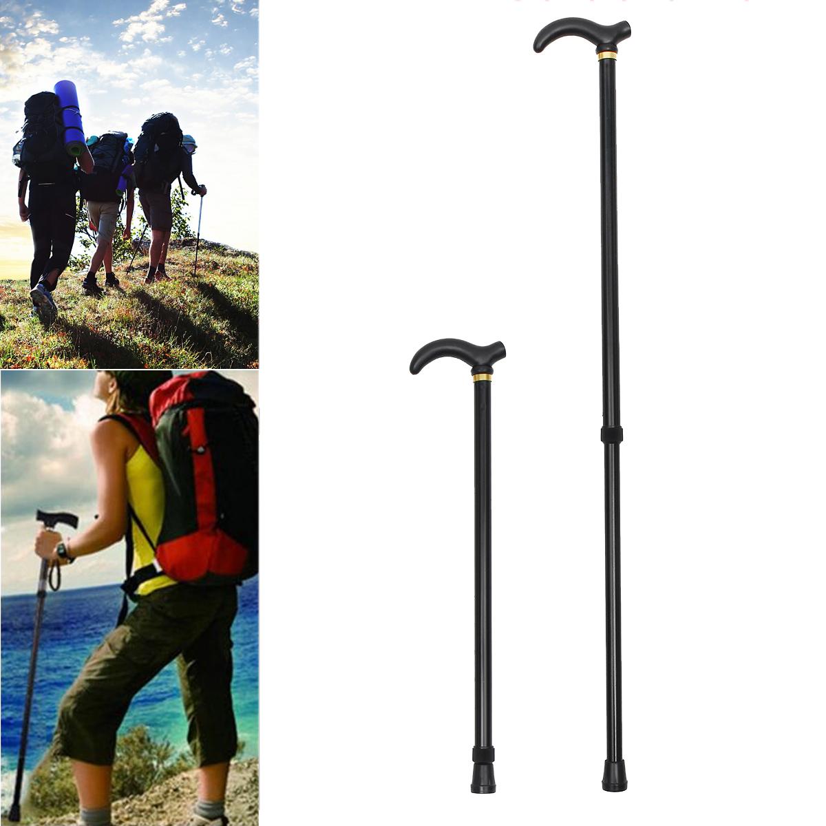 75-90CM Metal Adjustable Walking Hiking Stick Travel Folding Cane Pole Compact Alpenstock