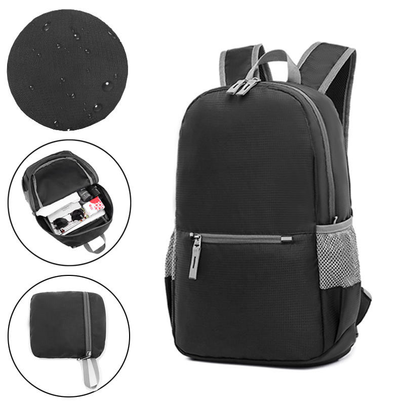 18L 200g Backpack Foldable Outdoor Folding Bag Weight Zip Waterproof Pack For Travel Camping - Black