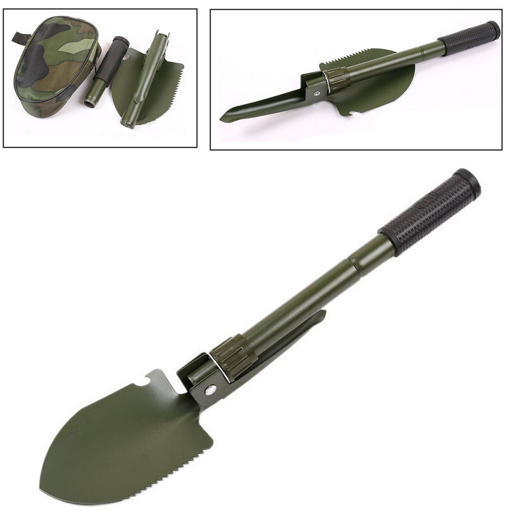 Multifunctional Folding Shovel Steel Shovel For Fishing Outdoors Sport Activities with Compass with pouch