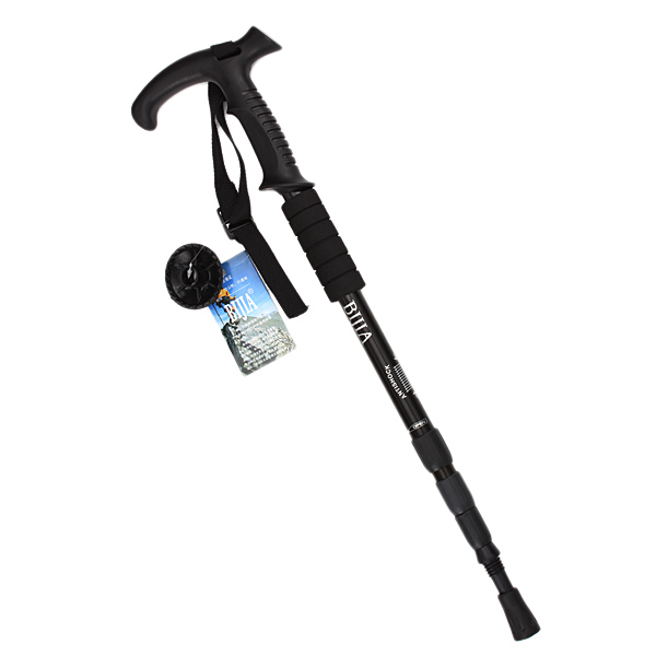 Outdoor Adjustable Trekking Pole Anti-slip 4 Sections Walking Stick Crutch Camping Climbing hiking - Random color