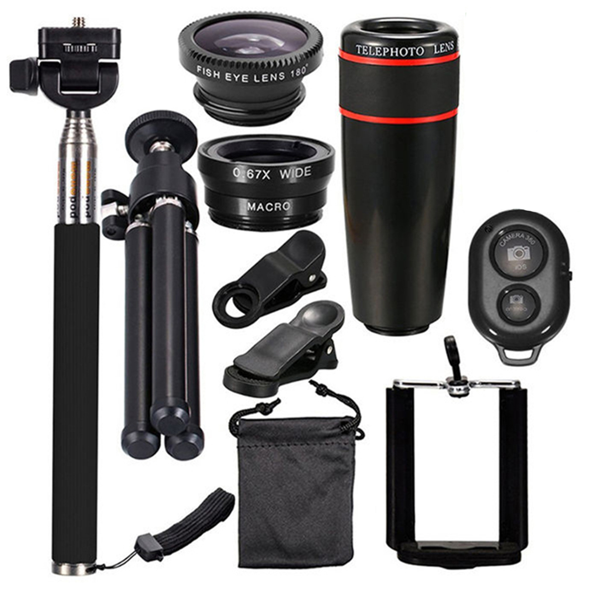 10-in-1 Universal Smartphone Camera Lens Fish Eye Lens with Clip Optical Telescope Kit Mobile selfie stick Bluetooth Set