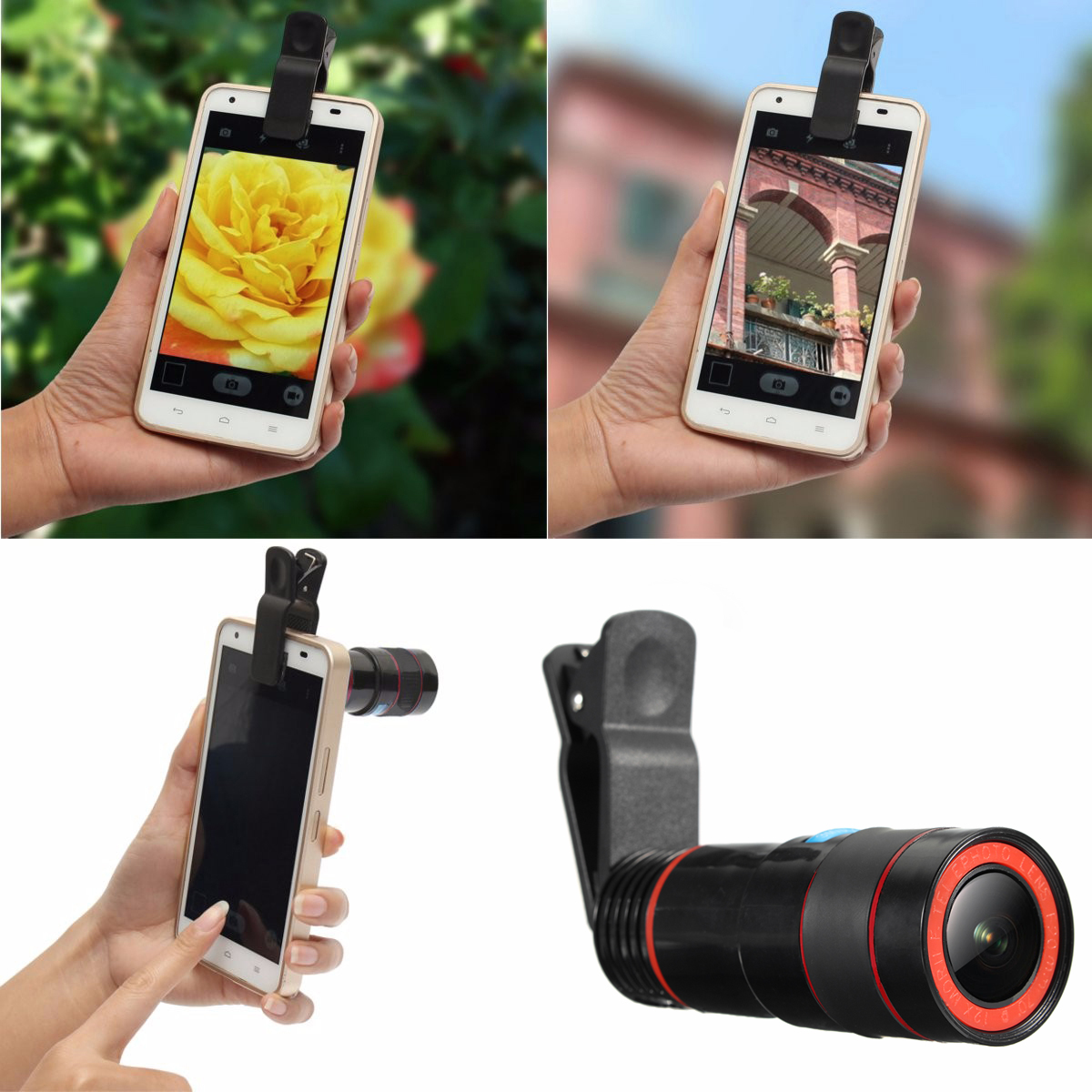 Universal 8X-12X Zoom Telescope Clip-on high clarity Camera Lens for Smartphone Tablets -Black