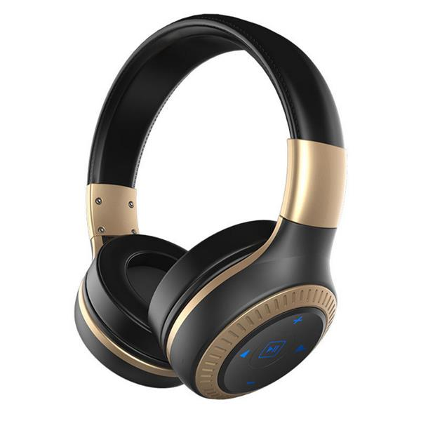 3D Sound 40mm dynamic driver AUX Line-in Wireless Bluetooth Headphone Headset With Mic - Black & Gold
