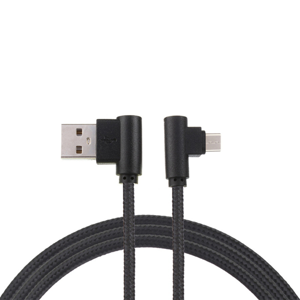1M L-Shape Micro USB Charging Cable Data Sync For Android Samsung S7 S6 Edge - Black