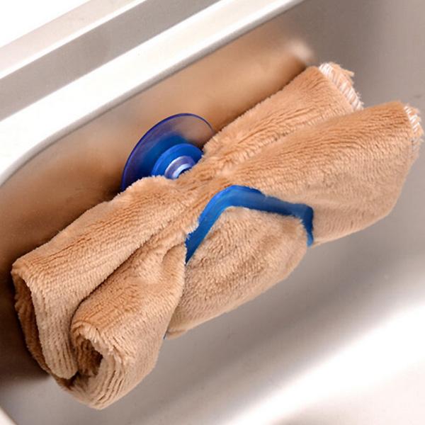 Kitchen Dishcloth Spong Holder Hook Rack Clip Suction Sink Holder Kitchen Tool - Random color