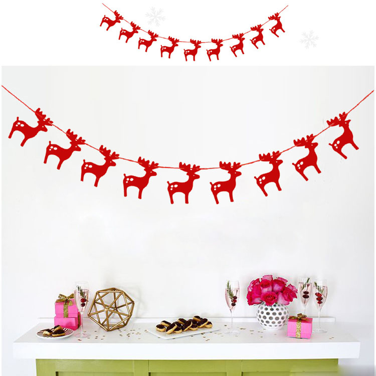 3M Christmas Banner Paper Garlands for Christmas Party Supplies Xmas decoration - Red
