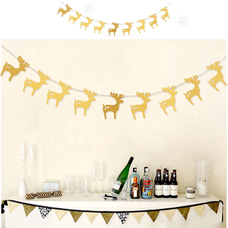 3M Christmas Banner Paper Garlands for Christmas Party Supplies Xmas decoration - Gold