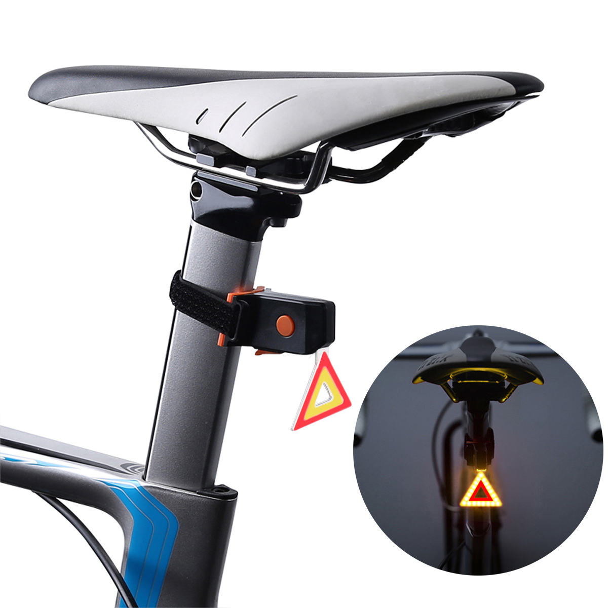 USB Rechargeable Waterproof Bicycle LED Tail Light - Triangle Style