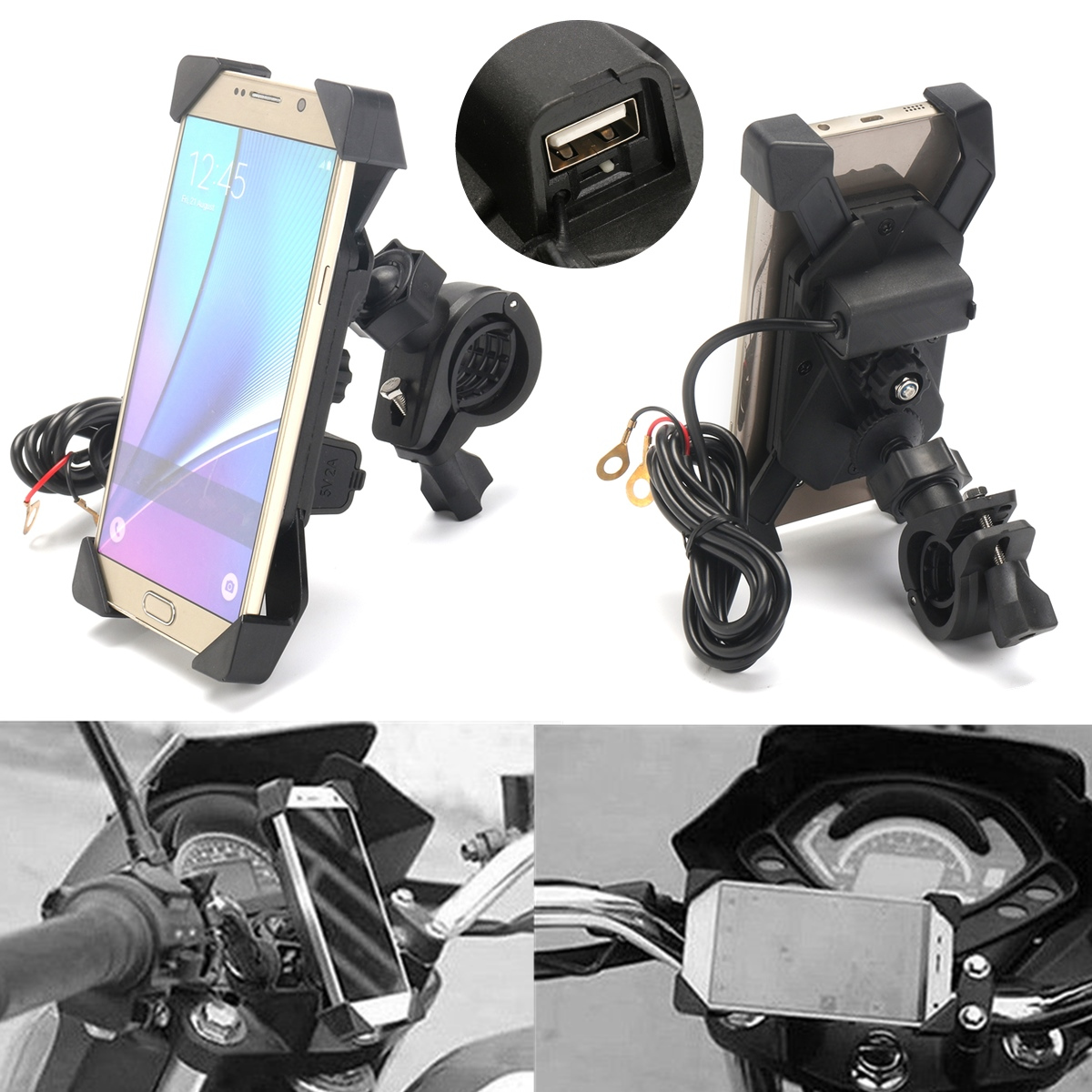 USB Handlebar Phone Charger Holder for iPhone Samsung Scooter Motorcycle Bike
