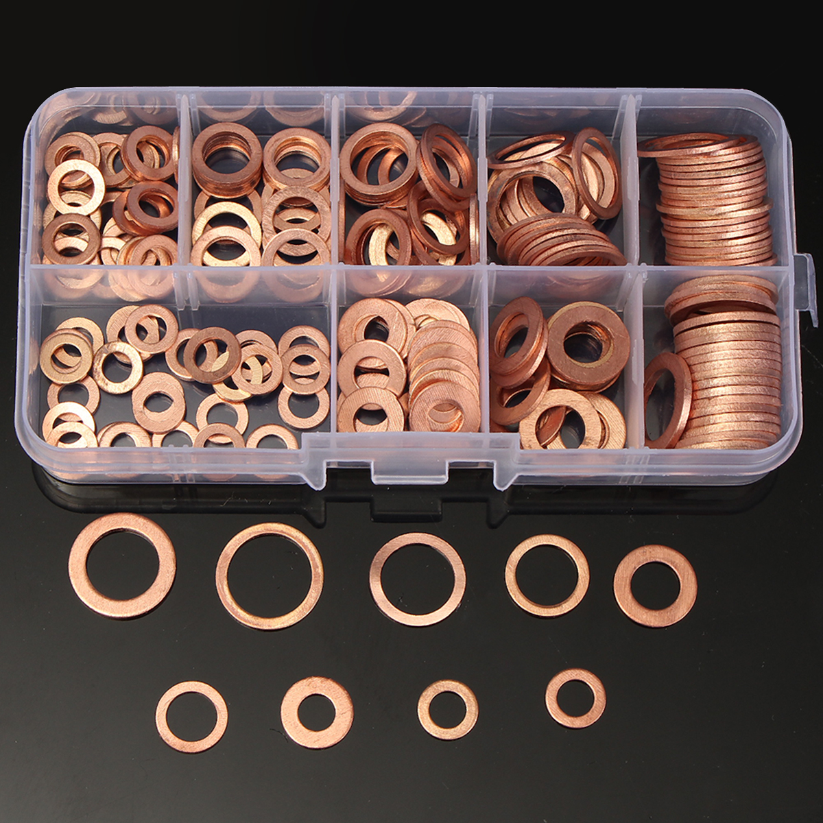 200PCS Assorted 9 Size Solid Copper Washer Sump Plug Flat Sealing Washer Kit with Storage Case