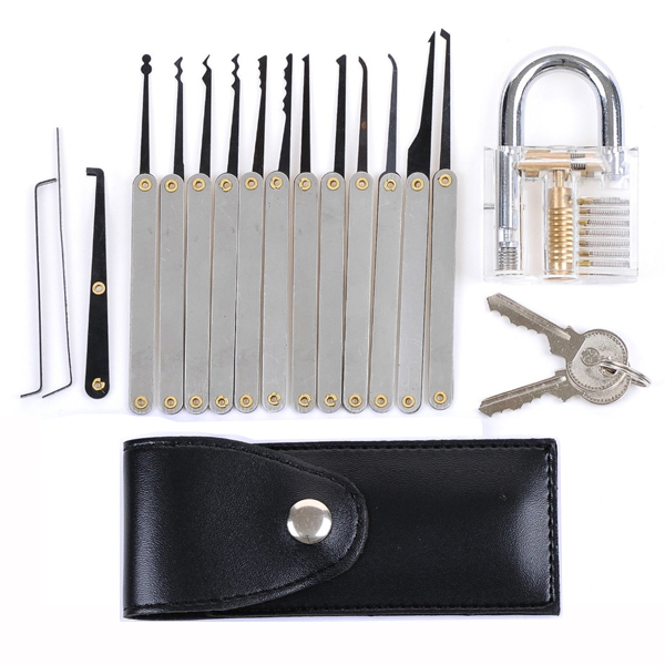 Transparent Practice Padlock with Unlocking Lock Picks Set Key Extractor Tools